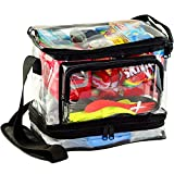 Large Clear - 4 Storage Areas - Thick Plastic, Water Resistant, and Easy-to-Clean - Lunch Box, Office, Travel, Stadiums, Security Checkpoints & More - Great for Men, Women & Kids