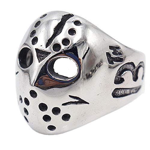 jonline24h Polished Stainless Steel Men's Ring, Halloween Jason Mask Band, Silver Black(7) ()