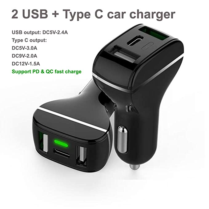 Sfmn PD3.0 & QC3.0 3Ports With LED Fast Car Charger Replacement for