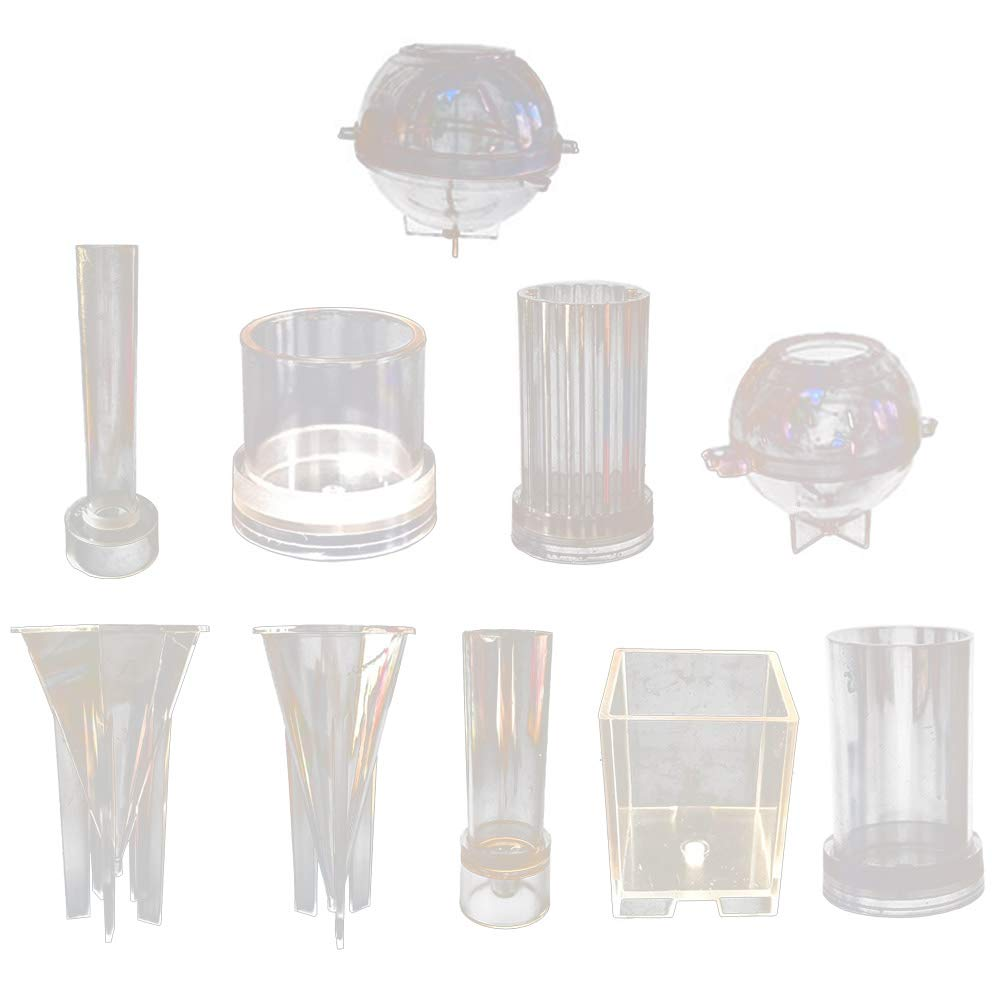 Lzttyee 10Pcs Clear Acrylic Candle Molds Set DIY Candle Making Supplies Casting Molds Kit for Birthday/Christmas/Valentine's Day by Lzttyee (Image #1)