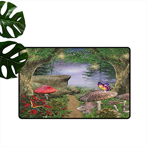 - RenteriaDecor Mushroom,Personalized Door mats Enchanted Nature Pathway with Magical Butterflies Fairytale Landscape Rocks 36