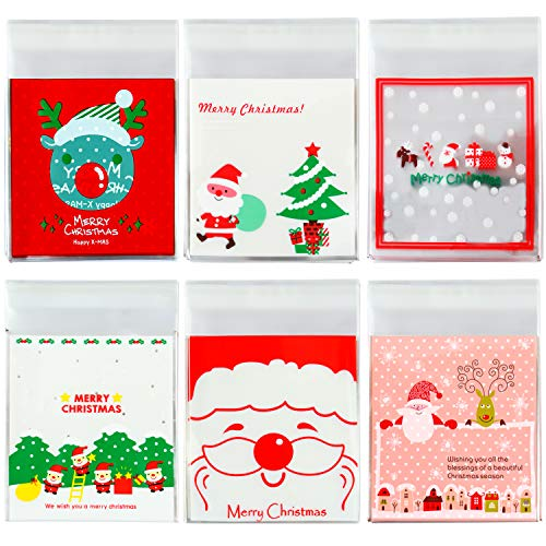 Elcoho 300 Pieces Christmas Cookie Treat Bags Candy Bags Self Adhesive Clear Cookie Bags Trick Cellophane Treat Bags for Party Gift Supplies, 6 Styles