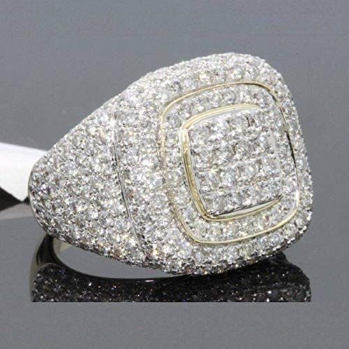 ZHQUN 18K Gold Cluster ICED Out Lab Simulated Diamond Band MICROPAVE Mens Pinky Ring (9) ()
