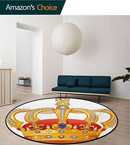 RUGSMAT King Anti-Skid Area Rug,Royal Crown with Gem Like Image Symbol of Imperial Majestic Print Green Soft Area Rugs,Round-39 Inch Orange White Blue Marigold (Imperial Green Gem)