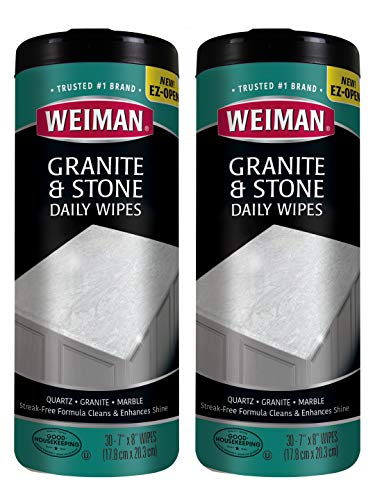 Weiman Granite Cleaner and Polish [60 Wipes] Non Toxic for Granite Marble Soapstone Quartz Quartzite Slate Limestone Corian Laminate Tile Countertop and More - 30 Wipes [2 Pack]