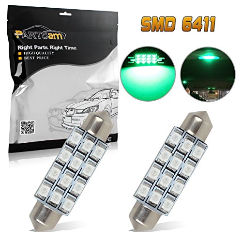 Partsam Green Car LED Lamps 42mm festoon 12SMD Interior Dome Map Lights Bulbs 12V 561 562 578, Pack of 2pcs (Honda Green Car)