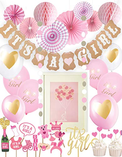 Baby Shower Decorations Set for Girls with unique FREE GIFT | Pink, White and Gold Decor | Party Decoration includes: Bunting, Photo Props, Cake topper, Balloons, Garland, Honeycomb Balls, Pinwheel Fans | 40 pieces ()