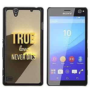 TECHCASE---Cubierta de la caja de protección para la piel dura ** Sony Xperia C4 ** --True Gold Amor Nunca Muere 3D Texto