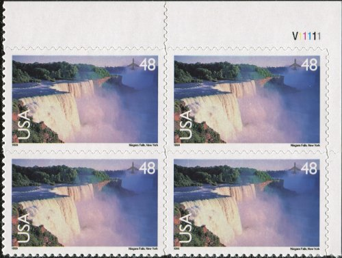 Stamp Plate Block (NIAGARA FALLS ~ AIRMAIL #C133 Plate Block of 4 x 48¢ US Postage Stamps)