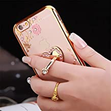 Galaxy Note 5 Case,Secret Garden Butterfly Floral Bling Swarovski Rhinestone Diamond Love Heart Shape 560 Degree Rotating Ring Stand Holder Case for Samsung Galaxy Note 5(Rose Gold-Yellow Flower)
