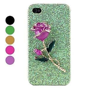 conseguir Rhinestone rosa duro caso para iPhone 4 y (colores surtidos) 4s , Negro