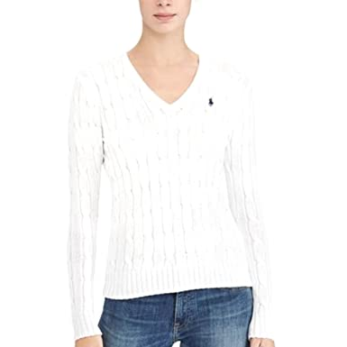 af8d471537564 Ralph Lauren Polo New Genuine Womens White Cable Knit V-Neck Jumper Sweater  (Medium)  Amazon.co.uk  Clothing