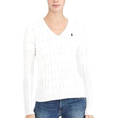 5d88b3455d78 RALPH LAUREN Women's Cable Knit Sweater Cotton V-Neck White M at ...