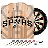 Trademark Gameroom NBA7010-SS2 NBA Dart Cabinet Set with Darts & Board - Fade - San Antonio Spurs