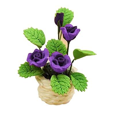 Newrys Dollhouse Flower Plant Green Accessories, 1/12 Scale Dollhouse Mini Flower Plant Pot Stand Handcraft Garden Room Decor Toy - Purple: Home Improvement