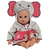 "Adora BathTime Elephant 13"" Girl Washable  Play Doll with Open/Close Eyes for Children 1+ Soft Cuddly Huggable QuickDri Body for Water Fun Toy"
