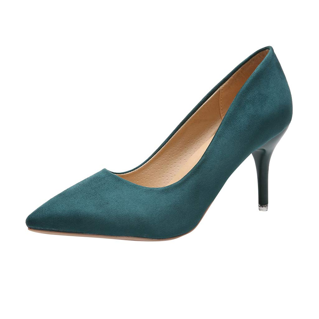 Green CHLZYD prevalent fashionable Women's Ladies Pointed Toe Solid High Heels Single Business shoes