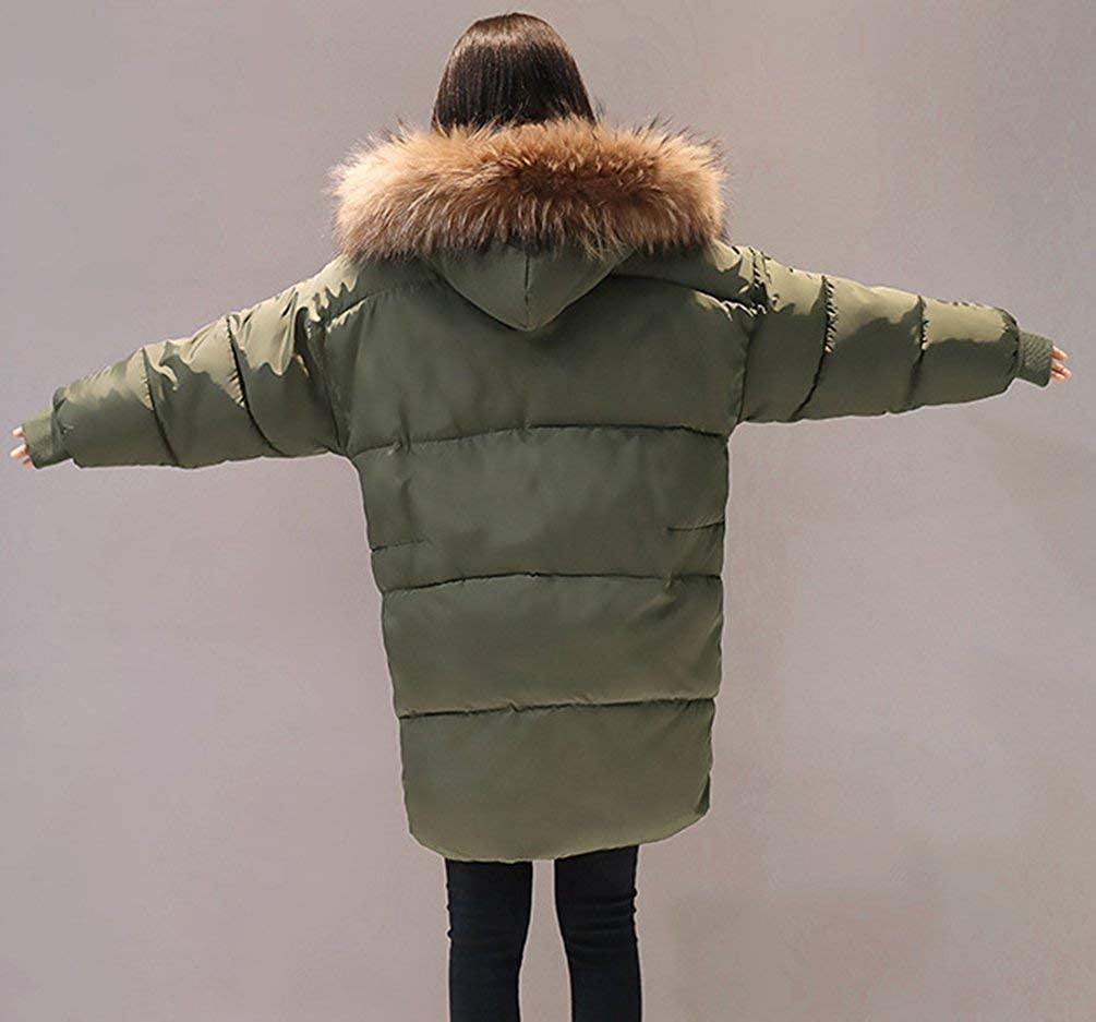 Targogo Parka Invernale Donna con Cappuccio in Pelliccia Lunga Maniche Lunghe Caldo Piu Armygreen