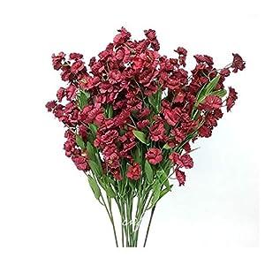 "18"" Baby's Breath Silk Artificial Wedding Bridal Flower (Dozen) (Burgandy) 97"