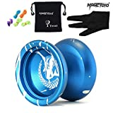 yo yo starter kit - Tocas® Magic YOYO N12 Alloy Aluminum Metal Professional Yo-yos Toy Yo Yo Ball with 1 Gloves And 5 Strings-Blue With White