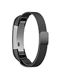 Fitbit Alta Band, Fitbit Alta HR Bands, Simpeak Stainless Steel metal replacement Wristbands Bracelet Strap with Magnetic Closure Clasp for Fitbit Alta / HR, Black