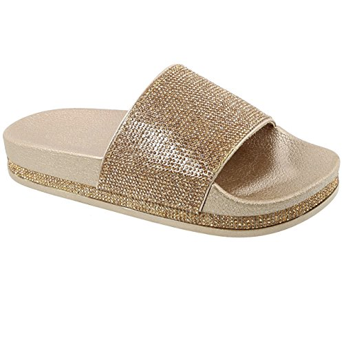 Trends SNJ Women's Glitter Rhinestone Strap Slide Slip On Slipper Sandals (Glitter Sandals Womens)