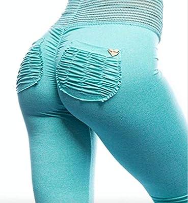 Cute Booty Aqua Summer Sorbet Active Women's Leggings Signature Scrunch Pockets