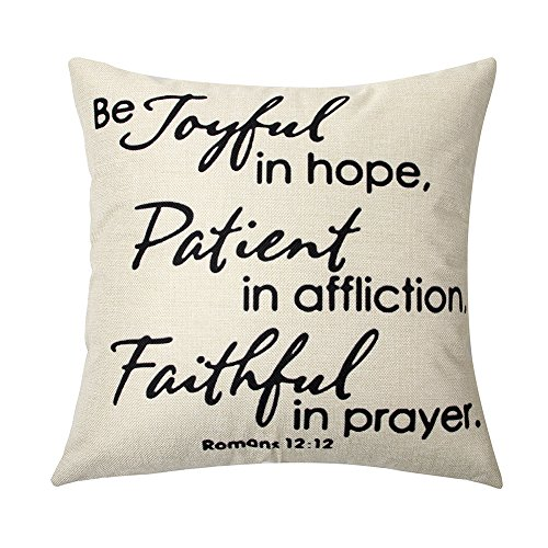 Ogiselestyle Joyful in Hope, Patient in Affliction, Faithful in Prayer Cotton Linen Home Decorative Throw Pillow Case Cushion Cover for Sofa Couch, 18