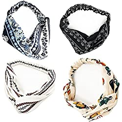Flowerfox Women Girl Headbands Head Wrap Hair Band Hair Care Hair Accessories Elastic Stretchy for Workout Fitness Yoga Dancer Party Prom (4 PCS)