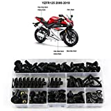 Xitomer Full Sets Fairing Bolts Kits, for Yamaha YZF R125 2008 2009 2010 2011 2012 2013 2014 2015 2016 2017 2018, Mounting Kits Washers/Nuts/Fastenings/Clips/Grommets (Matte Black)