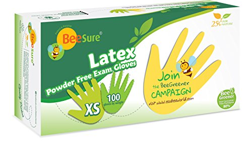 BeeSure BE2815case Powder Free Exam Gloves, Latex, Beaded-Cuff, XS, Yellow (Pack of 1000) by BeeSure