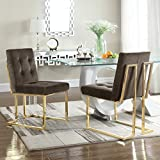 Iconic Home FDC2703-AN Liam Contemporary Brass Metal Frame Modern Tufted Velvet Polished Dining Side Chair, Taupe (Set Of 2)