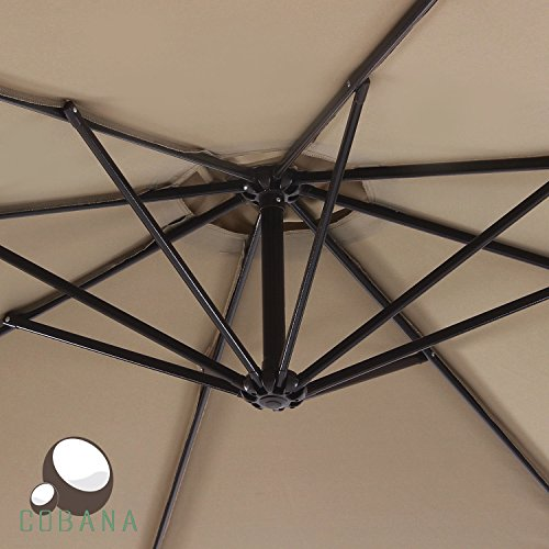COBANA 10 Ft Patio Umbrella Offset Hanging Umbrella Outdoor Market Umbrella Garden...