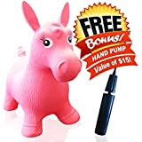 ToysOpoly Inflatable Horse Bouncer - Cutest Ride-on Bouncy Animal Hopper for Kids with Best Eco-friendly Rubber - Compatible with Gymnic Rody Toys: Bouncing Reindeer, and Hopping Ball (Pink)