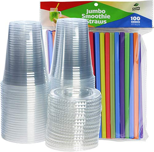 [100 Sets - 16 oz.] Plastic Cups With Flat Lids & Straws = 100 Clear Cups, 100 Flat Lids, 100 Jumbo Smoothie Straws