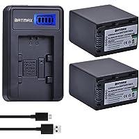 Batmax 2pcs 3900mAh NP-FV100 Battery + LCD USB Charger for Sony NP-FV100 Sony HDR-CX110, HDR-CX130/B, HDR-CX160/B, HDR-XR160, HDR-CX360V, HDR-CX560V, HDR-CX700V, HDR-PJ10, HDR-PJ30V, HDR-PJ50V