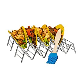 Set Of 2 Stainless Steel Taco Holder by Prod King: Mexican Food Taco Rack Shells Hold 4 or 5 Tacos | Non-Slip & Dishwasher Taco Rack | Bonus: 1 Bonus Silicone Pastry Brush 84 ENHANCE YOUR GUESTS DINING EXPERIENCE: Unlike typical plates and platters, this taco holder provides the perfect, convenient place for guests to set their authentic tacos down without creating a mess. It holds food upright, ensuring savory fillings and fresh toppings stay in place between every bite. Plus, chefs can put the meal together quickly and efficiently, while guests can enjoy their tacos at their own pace. CUSTOMIZE TO MEET YOUR GUESTS' ORDERS: Switch between holding 4 or 5 tacos by simply flipping the choice holder upside down. This versatile structure is perfect for creating multiple portion sizes and customizing to meet your guests' orders. Get creative and use this frame for presenting other foods like cannoli, biscotti, or a sampling of hot dogs! DURABLE MATERIAL, BEAUTIFUL DESIGN: The durable, stainless steel construction looks great and resists bending and scratching for busy restaurants and bars. The unique zig-zag design holds the taco shells in an upright position and reduces the risk that they will fall over. The product dimensions are 210x63x40.