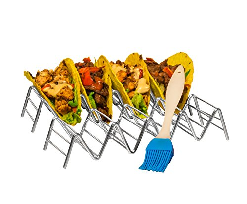 Set Of 2 Stainless Steel Taco Holder by Prod King: Mexican Food Taco Rack Shells Hold 4 or 5 Tacos | Non-Slip & Dishwasher Taco Rack | Bonus: 1 Bonus Silicone Pastry Brush 1 ENHANCE YOUR GUESTS DINING EXPERIENCE: Unlike typical plates and platters, this taco holder provides the perfect, convenient place for guests to set their authentic tacos down without creating a mess. It holds food upright, ensuring savory fillings and fresh toppings stay in place between every bite. Plus, chefs can put the meal together quickly and efficiently, while guests can enjoy their tacos at their own pace. CUSTOMIZE TO MEET YOUR GUESTS' ORDERS: Switch between holding 4 or 5 tacos by simply flipping the choice holder upside down. This versatile structure is perfect for creating multiple portion sizes and customizing to meet your guests' orders. Get creative and use this frame for presenting other foods like cannoli, biscotti, or a sampling of hot dogs! DURABLE MATERIAL, BEAUTIFUL DESIGN: The durable, stainless steel construction looks great and resists bending and scratching for busy restaurants and bars. The unique zig-zag design holds the taco shells in an upright position and reduces the risk that they will fall over. The product dimensions are 210x63x40.