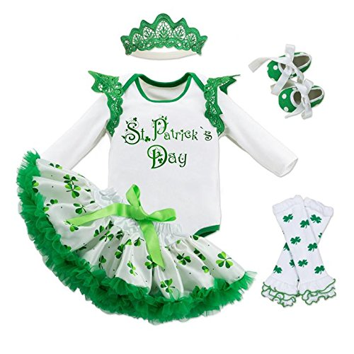 Fairy Baby Baby Girl St. Patricks Day Outfit Shamrocks Green Party Costume Dress Set