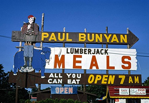 - Roadside America Photo Collection | 1988 Paul Bunyan Lumberjack Meals Sign, Wisconsin Dells, Wisconsin | Photographer: John Margolies | Historic Photographic Print 20in x 16in