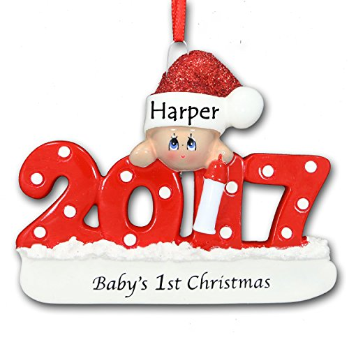 2017 Baby's First 1st Christmas Ornament in Red for Baby Boy or Girl with Free Name (Grandson's First Christmas Ornament)
