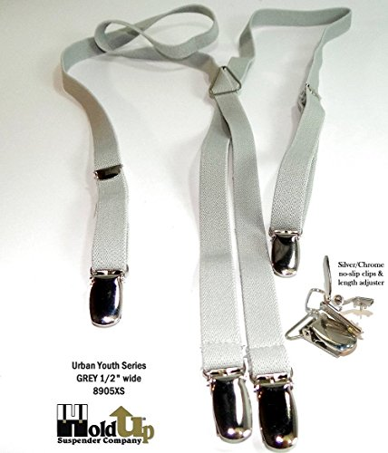 Urban Youth 1/2'' Hold-Up Suspender in X-back with No-slip Clips (Grey) by Hold-Up Suspender Co. (Image #6)