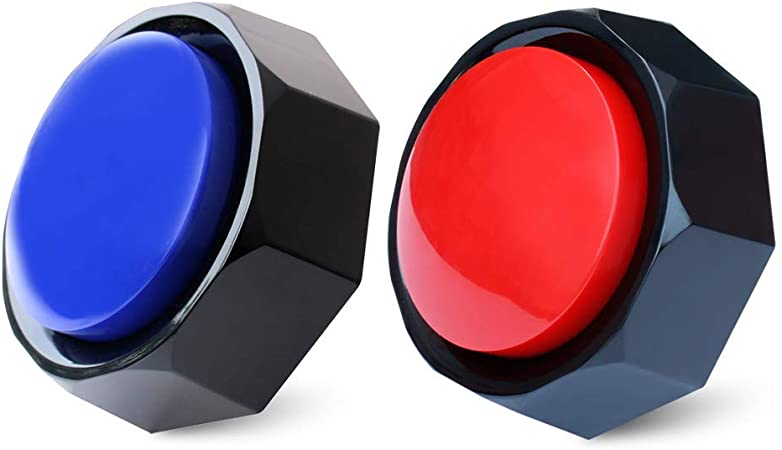 Neutral Recordable Button, Sound Button, 30S Recording Upgrade, Talking Button, Easy Use, Material Safety, Answer Buzzer, Increase Fun, Set of 2, Contains 2 AAA Batteries (Red Blue)