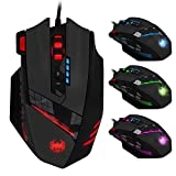 ZELOTES 12 Programmable Buttons Optical Professional High Precision USB Gaming Mouse Mice,4000 DPI (Up to 8000DPI by the Software),Weight Tuning Set,Multi-Modes LED lights (Black)