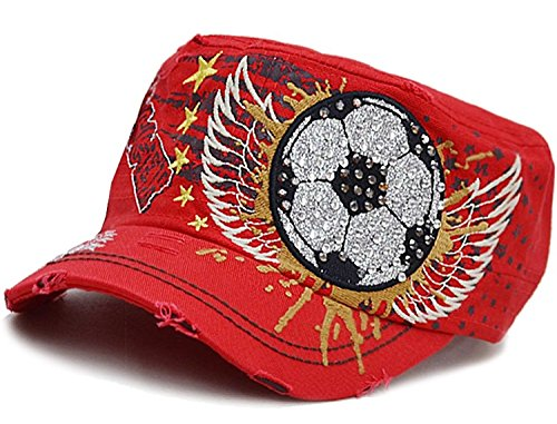 Soccer Ball On Wings Rhinestone Embroidered Cadet Hat Cap Women's (new) (Red)