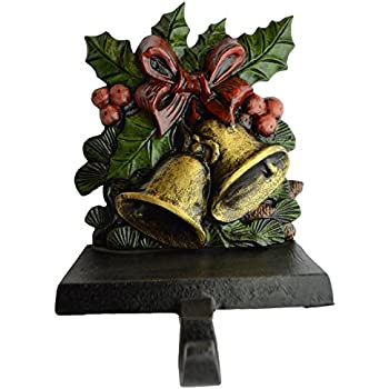 Lulu Decor, Cast Iron Christmas Stocking Holder, Strong and Durable Hook, Designed, Measures 7X 5.5 inches, Weighs 3.5 lbs, Perfect (Bell)
