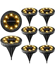 Solar Powered Ground Lights,Waterproof LED Solar Lights Outdoor Solar Disk Lights,Solar Garden Lights for Landscape Pathway Patio Yard Walkway Path Lawn Driveway Lighting