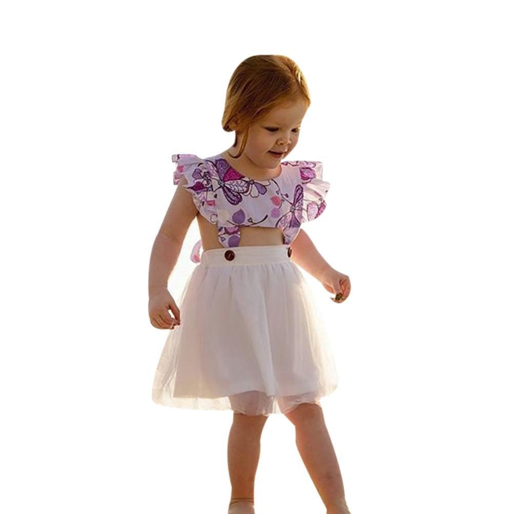 kaiCran Girls Dress,Fashion Little Girls Sleeveless Floral Printed Outdoor Dress Size 1-4