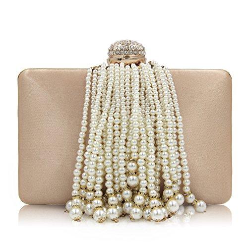 Pearl Purse (Milisente Women Pearl Clutches Beaded Tassels Evening Clucth Bag Satin Clutch Purse (Gold))