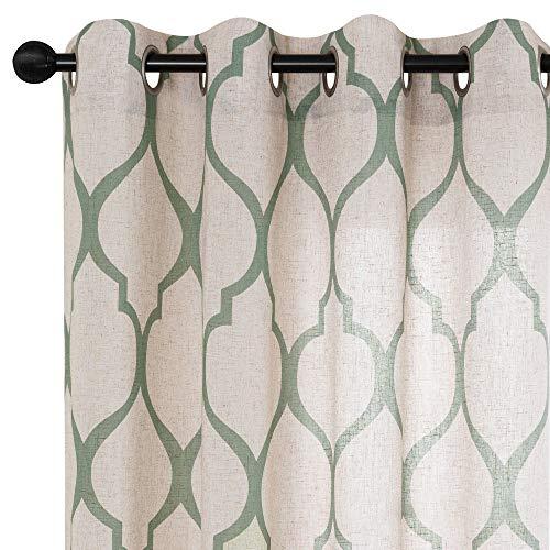 jinchan Moroccan Tile Linen Textured Curtains Printed Curtain Panels Bedroom Living Room Lattice Window Treatment 2 Panel Drapes 63